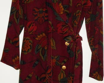 GILLIAN Silk Dress Size 12 Petite Wine Burgundy Floral Wrap Vintage 1980s