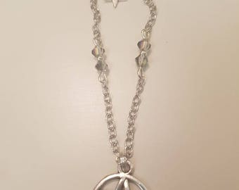 Pentagram necklace with purple crystal detailing. Wicca, pagan, wiccan, witch, star. Free UK postage