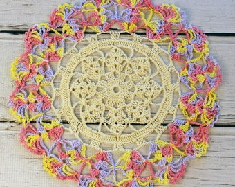 """Crocheted Cream Pink Yellow Lavender Variegated Table Topper Doily - 10 1/2"""""""