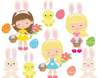 INSTANT Download. Easter_bunny. Easter bunny girl clip art. Cb_18. Personal and commercial use.