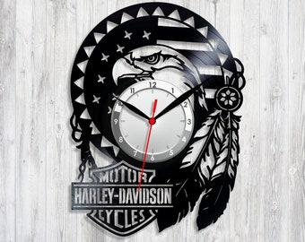 Harley clock HDI vinyl American motorcycle Sport clocks Motor Company Record clock Biker gift Vinyl decor Harley vinyl Motorcycle gifts
