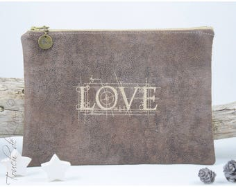 BAG POUCH zippered leather antique Brown 'love '.
