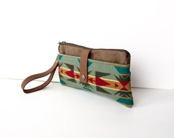 Navajo Blanket Wool, Waxed Canvas & Leather Smartphone Wallet, Wristlet, Small Purse