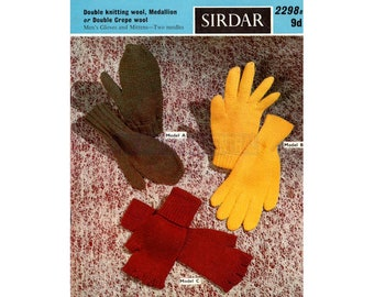 Sirdar 2298 Three 50s Knitting Patterns For Mittens/Gloves Instant Download PDF 8 pages