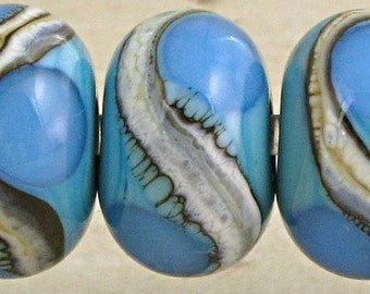 Lampwork Glass Bead Set of 6 with Silvered Ivory Webbed Accents Small 11x7mm Blue on Turquoise