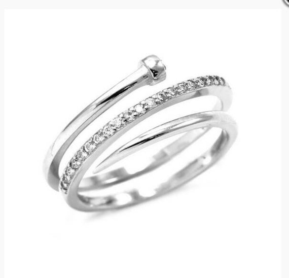 Silver Nail Ring - Stacking Ring - Best Friend Gift - Silver Ring -  Screw Ring - Cubic Zirconia -  Dainty Stacking Ring - Birthday Gift