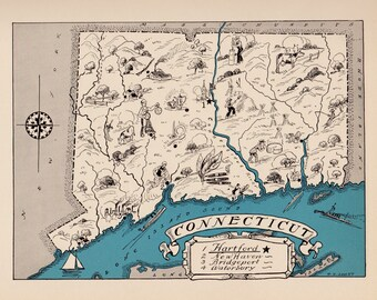 30's Vintage CONNECTICUT Picture Map of Connecticut State Cartoon Map Print Map Gallery Wall Art Office Decor Gift for Wedding Birthday