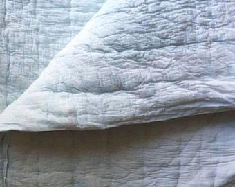 Cotton Quilt comforter coverlet bedding light blue white for the bedroom SAMPLE SALE Block Printed housewares, home living bedspread-  baagh