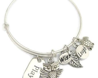 Sale! PLAY WISH LAUGH Owl, Stackable Charm Bangle Bracelet, Adjustable Wire Bangle,Stackable, One Size Fits Most