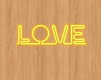 Love Word Neon Light Digtal Paper Instant Download Digital Print