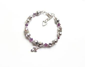 Child Bracelet Personalized, Girls Initial Bracelet, February Birthstone Bracelet, Amethyst Bracelet, Personalized Kids Bracelets