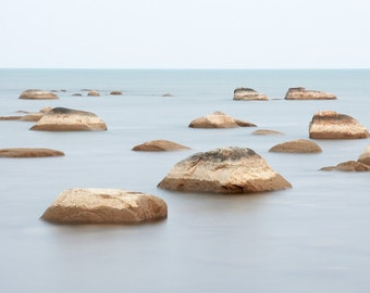 Beach rocks art photograph. Peaceful landscape photography print. Large vertical wall decor for spa bathroom. Zen gift for busy people.