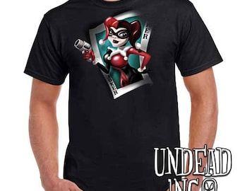 Dc Comics Batman Harley Quinn Joker Card - Mens T Shirt