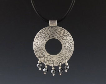 Round Sterling Silver Pendant, Textured and Oxidized, with Faceted Hematite Beads