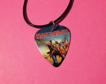 IRON MAIDEN Guitar Pick  Necklace. Custom Necklace