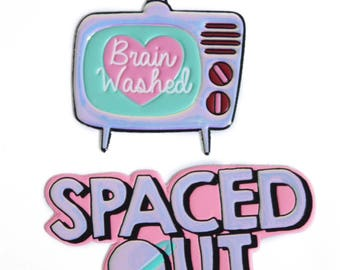 TV sticker, spaced out sticker, puffy sticker