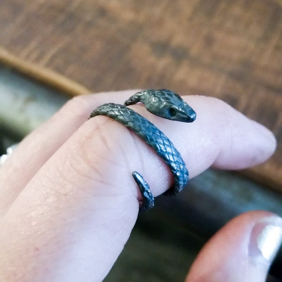 Silver Snake Ouroboros Adjustable Wrap Ring, Tolkien, Cobra, 2 Headed Snake, Viper, Slytherin, Riverdale, Gothic, Jughead, Pagan, Occult