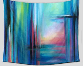 Dorm room decor, Abstract Wall Tapestry, Large wall art hanging, Bohemian, Hippie Tapestries, Multi-color, Teal blue green, Outdoor Patio