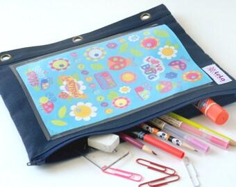 Binder Pouch, Craft Storage, Boy Pencil Case, Multi Purpose Pouch, School Supplies Storage-Navy Blue