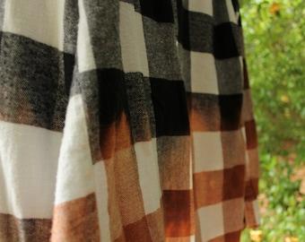 Dip dye flannel size L, Grunge 90s style flannel, bleach dye flannel, flannel shirt, Distressed flannel shirt, oversize dip dye flannel