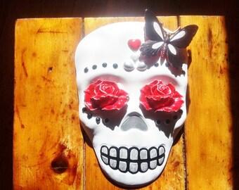 Day of the Dead Skull, Sugar skull art, wall hanging skull sculpture, Dia de los Muertos