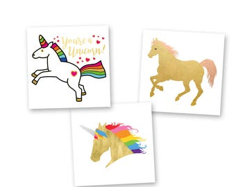 Unicorn Dreams Variety Set from Flash Tattoos features 24 colorful pre-cut metallic temporary tats-party favors, festivals and more!