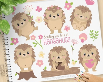 Hedgehogs Clipart, cute little Hedgehog, Hedgehugs, Hand drawn, woodland animals, Spring flowers, Commercial Use, Vector clip art, SVG Files