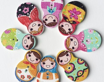 Wooden Buttons- Russian Nesting Dolls- Matryoshka- 8pcs wood buttons