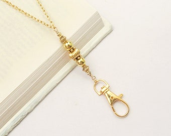 Gold Lanyard, Gold Necklace Lanyard, Gold ID Badge Holder, ID Card Necklace, Teacher Lanyard, Gold Key Chain Lanyard Fashion Lanyard Women