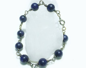 Blue moonstone wire wrapped  eaded bracelet handmade jewelry