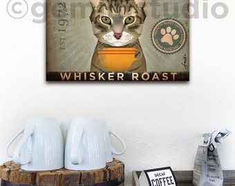 Tabby Cat Coffee Company graphic artwork on gallery wrapped canvas inches by Stephen Fowler