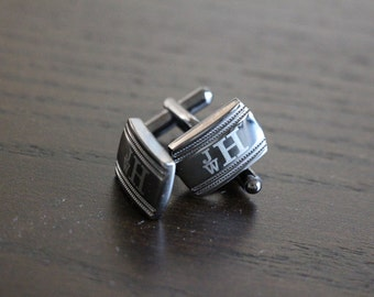 Monogram Cufflinks, Custom Engraved Stainless Steel Cuff links, Personalized Wedding Cufflinks, Fathers Day Gift, Monogrammed Cuff Links