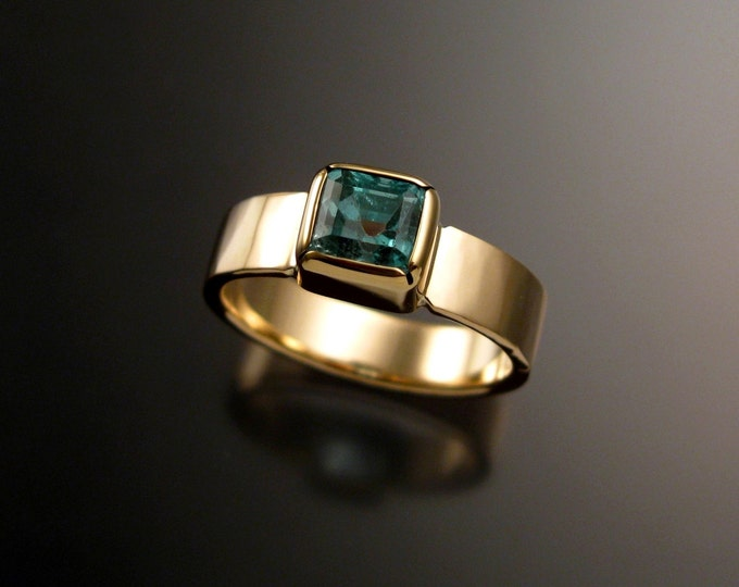 Emerald ring 14k Yellow Gold with bezel set stone size 8 large Emerald ring