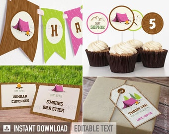 Camping Party Pack - Girl Campout Sleepover - Glamping - INSTANT DOWNLOAD - Printable PDF with Editable Text
