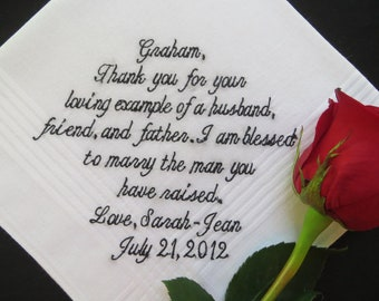 30 words of your choice. Father-in-law, Wedding embroidered handkerchief. Free handmade matching gift box with each handkerchief order.