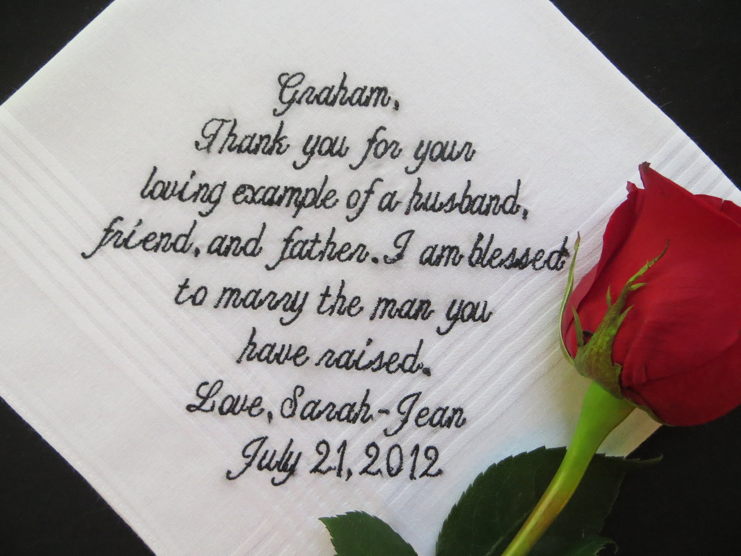30 Words Of Your Choice Father In Law Wedding Embroidered
