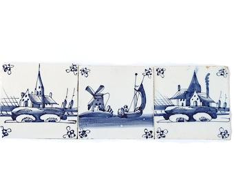 Antique Ceramic Tiles Decorative Blue White Wall Set of Three Tile Delft Sailboat Landscape Church Windmill Motif Wall Decor FREE SHIPPING