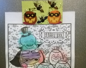 Pumpkin and bats magnet
