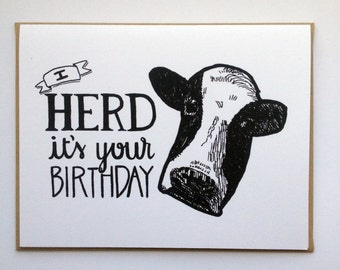 I HERD It's Your Birthday - Hand Lettered Greeting Card