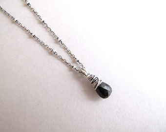 Dainty Genuine Black Tourmaline Necklace, Sterling Silver Small Pendant Necklace, Gemstone Drop Necklace, Black Necklace, Simple Necklace