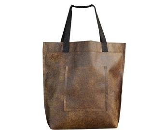 Brown Leather Tote Bag - Brown Leather Bag - Large Brown Tote - Brown Leather Travel Bag - Leather Market Bag - Large Shopper Bag
