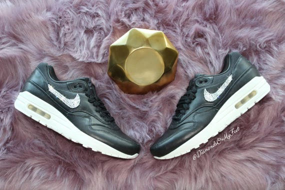 Sneakers Swarovski Leather Blinged Out Crystals Custom Clear Bling With Pinnacle Air Swarovski Nike Women's Authentic 1 Shoes Black Max Nike crzS4Wc