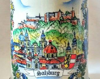 Vintage Hand Painted King Austria Salzburg Tankard Cobalt Blue Stoneware Stein