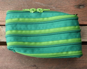 green horizontal zip pouch