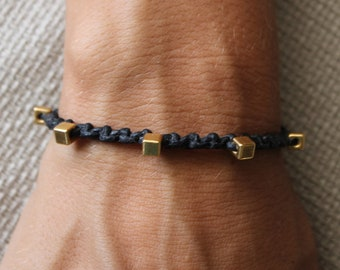 Bracelet Colo 09 Gold Cotton Cord Handmade - Black (B109GD-CBK)