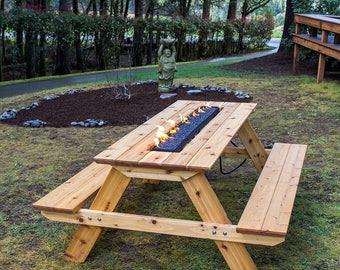 Superb Fire Pit Picnic Table   Cedar