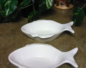 Vintage California Pottery 874 Fish Candy/Nut Dish Lot of Two Fish Dish by California Pottery