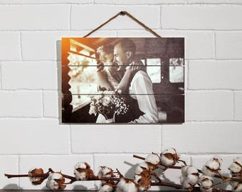 Pallet Sign Pallet Art Anniversary Gift 5th Anniversary Custom Photo Pallet Pallet Wall Art Rustic Home Decor Picture Frame Print on Wood