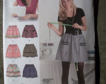 Simplicity 2286 Misses Size A 6 to 18 pull-on skirt with trim variations
