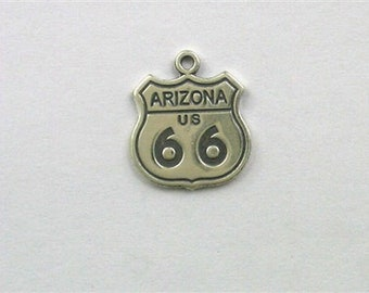 Sterling Silver Arizona Route 66 Freeway Sign Charm